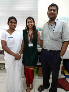 The author (center) with Mercy Inbakumari and Ron Thomas, M.D., in the metabolic clamp room at CMC, Vellore